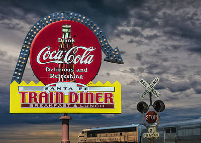 Vintage Sign For A Classic Train Diner With The South Dakota Central Railway Print by Randall Nyhof