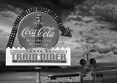 Vintage Sign In Black And White For A Classic Train Diner Print by Randall Nyhof