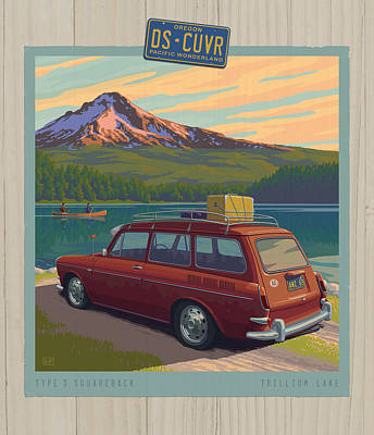Lake Digital Art - Vintage Squareback At Trillium Lake by Mitch Frey