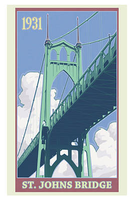 Oregon Digital Art - Vintage St. Johns Bridge Travel Poster by Mitch Frey