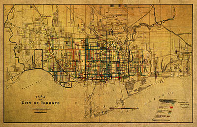 Vintage Street Map Of Toronto Canada Circa 1907 On Worn Distressed Parchment Print by Design Turnpike