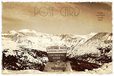 Vintage Style Post Card From Loveland Pass Print by Juli Scalzi