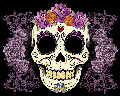 Purple Digital Art - Vintage Sugar Skull And Roses by Tammy Wetzel