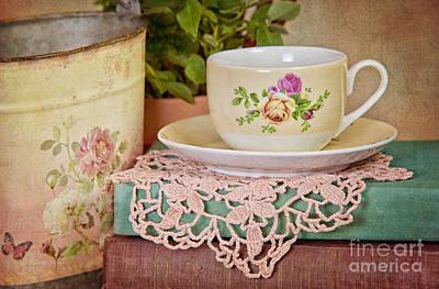 Vintage Teacup Print by Cheryl Davis
