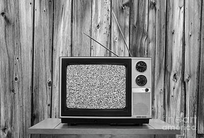 Vintage Television With Rustic Wood Wall And Static Screen In Bl Print by Trekkerimages Photography
