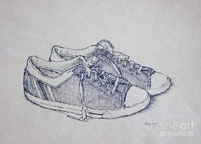 Tennis Shoe Drawing - Vintage Tennis Shoes by Philip Jones