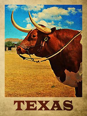 Texas Bull Print by Flo Karp