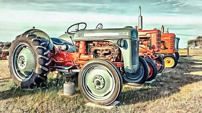 Rendition Digital Art - Vintage Tractors Ford  by Edward Fielding
