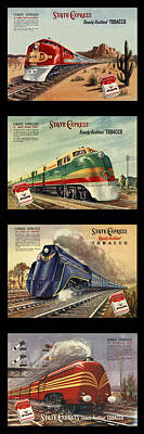Cigarette Ads Photograph - Vintage Train Montage by Andrew Fare