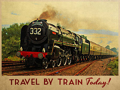 Train Digital Art - Vintage Travel By Train by Flo Karp