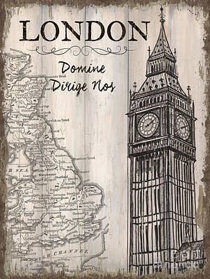Textured Landscapes Mixed Media - Vintage Travel Poster London by Debbie DeWitt