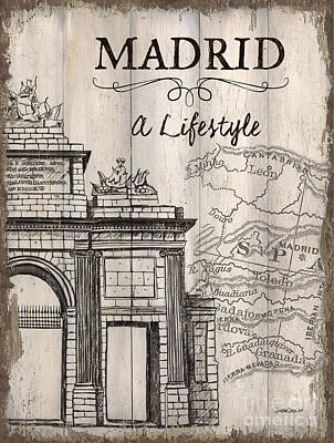 Textured Landscapes Mixed Media - Vintage Travel Poster Madrid by Debbie DeWitt