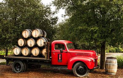 Vintage Truck With Wine Barrels Print by Mountain Dreams