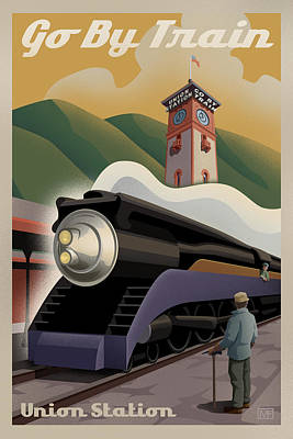 Transportation Digital Art - Vintage Union Station Train Poster by Mitch Frey