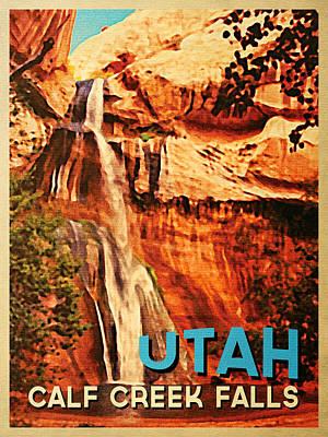 Escalante Digital Art - Vintage Utah Calf Creek Waterfall by Flo Karp
