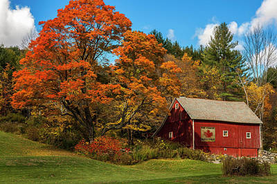 Vintage Vermont - Red Barn Print by Thomas Schoeller
