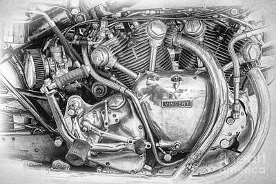 Vintage Vincent Engine Print by Tim Gainey