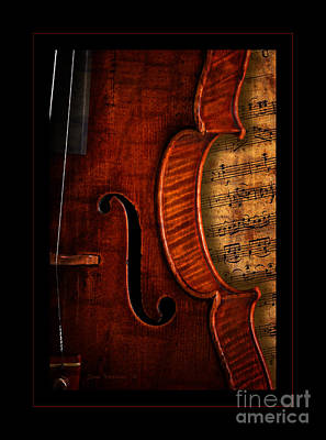 Vintage Violin With Antique Overture Sheet Music Print by John Stephens