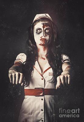 Bizarre Photograph - Vintage Walking Dead Horror Nurse by Jorgo Photography - Wall Art Gallery