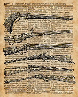 Sepia Ink Mixed Media - Vintage Weapons Antique Guns Dictionary Art by Jacob Kuch