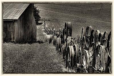 Vintage Wheel Fence Print by David Patterson