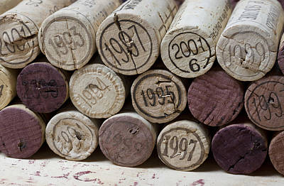 Cellar Photograph - Vintage Wine Corks by Frank Tschakert