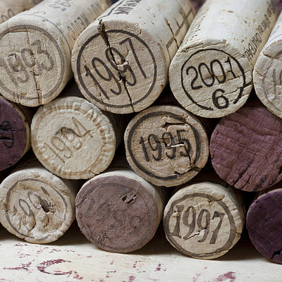 Vintage Wine Corks Square Print by Frank Tschakert