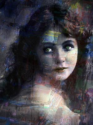 Vintage Woman Pop With Modern Highlights Blue Vertical  Original by Tony Rubino