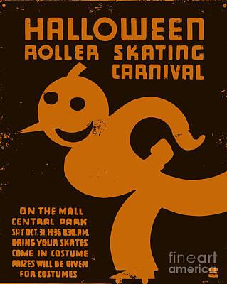 Nyc Digital Art - Vintage Wpa Halloween Roller Skating Carnival Poster by Edward Fielding