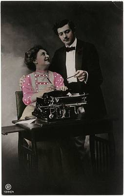 Typewriter Photograph - Vintage Young Man And Woman Using by Gillham Studios