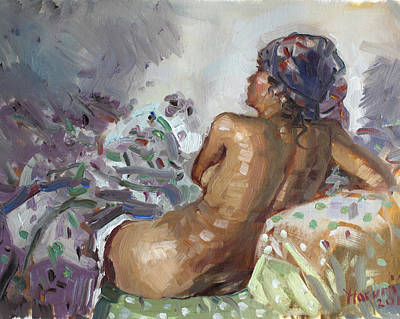 Nude In Violet Print by Ylli Haruni