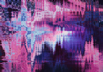 violet blurred abstract background texture with horizontal stripes. glitches, distortion on the screen broadcast digital TV satellite channels Print by Oksana Ariksina