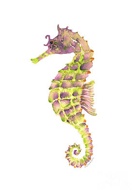 Seahorse Painting - Violet Green Seahorse by Amy Kirkpatrick