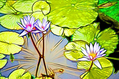 Garden Painting - Violet Lotus Flower In Pond 12 by Lanjee Chee