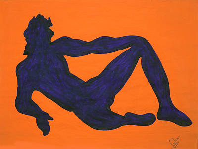 Dance Painting - Nude Violet Man Sitting  by Stormm Bradshaw