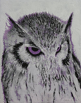 Black And White Birds Painting - Violet Owl by Michael Creese