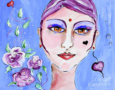Purple Painting - Violeta - Woman Face Art By Valentina Miletic by Valentina Miletic