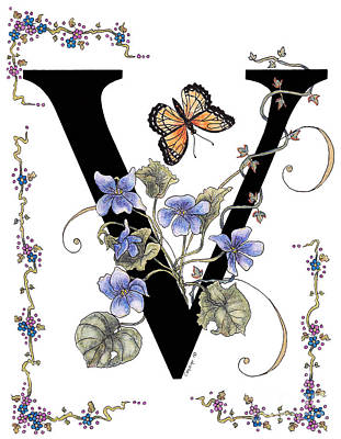 Violets And A Viceroy Butterfly Print by Stanza Widen