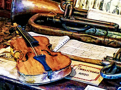 Sheet Music Photograph - Violin And Bugle by Susan Savad