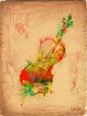 Old Paper Digital Art - Violin Dreams by Nikki Marie Smith