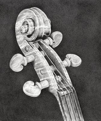 Violin Drawing - Violin Scroll by Remrov