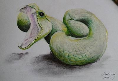 Viper Drawing - Viper In Action by Judit Szalanczi