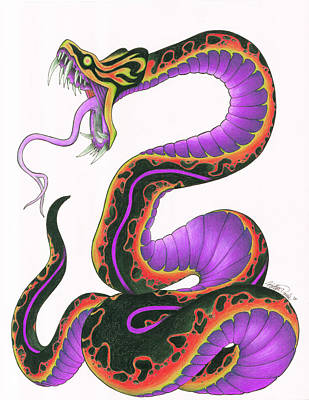 Viper Mixed Media - Viper In Purple by Katlyn Daniels