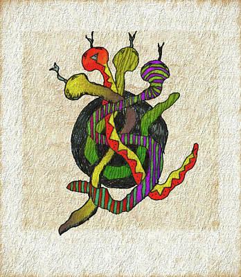 Viper Drawing - Vipers' Tangle by John Pullicino