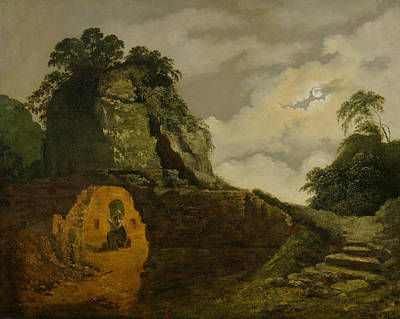 Italian Landscapes Painting - Virgil's Tomb By Moonlight, With Silius Italicus by Joseph Wright