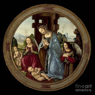 Virgin Adoring The Christ Child With St. John The Baptist And Two Angels Print by Celestial Images