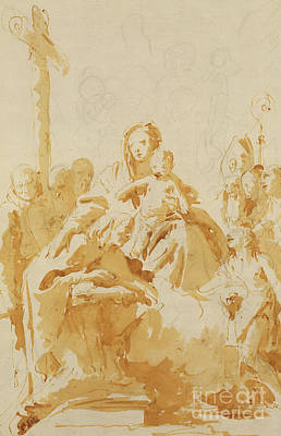 Religious Drawing - Virgin And Child Adored By Bishops, Monks And Women by Tiepolo