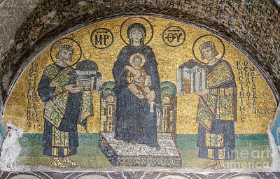 Virgin And Child Flanked By Justinian I And Constantine Mosaics Print by Celestial Images