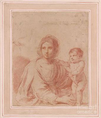 Giovanni Francesco Barbieri Painting - Virgin And Child by Giovanni Francesco