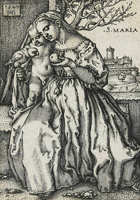 Religious Drawing - Virgin And Child With A Parrot by Hans Sebald Beham